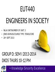 EUT440 LECT WK 2 SEM I 2013-2014 SAFETY  HEALTH ISSUES.ppt