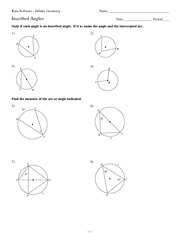 MATH 9 Inscribed Angles Worksheet Solutions - Kuta Software Infinite ...