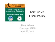Lecture 23 Fiscal Policy