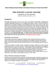Soil Ecology and the Soil Food Web