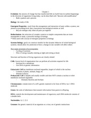 Biology Test 1 Study Guide