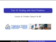 16 - Dealing with hard problems - Problem classes P & NP