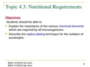 Topic 4.3 Nutritional Requirements