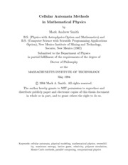 Cellular Automata Methods in Mathematical Physics