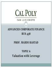 Topic6-Valuation with Leverage