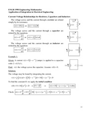ENGR 1990 Application of Integration in EE