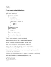 Nodes Notes and Programming Linked List