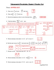 Chapter 5 Practice Test Answer Key - Trigonometry/Precalculus