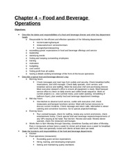 Study Guide - Part 1 - Chapter 4 - Food and Beverage Operations