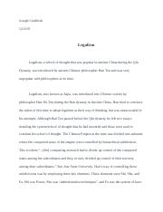 Legalism Research Paper