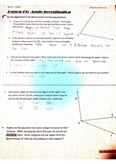 Geometry, Lesson 1 Angles worksheet