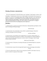 Meaning of business communication