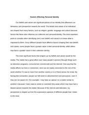 Factors Affecting Personal Identity essay