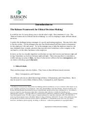 Introduction to the Babson Framework for Ethical Decision Making-2