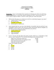 Exam I Chapters 1, 2, 3