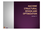 Lecture 11 Machine Structural design and optimization