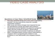 QUESTIONS FOR VIDEO CASE ANALYSIS Week 3 Scholfield Honda