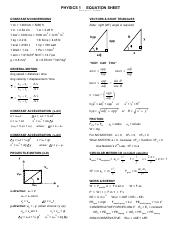 PHYS 110 Reference - Equation Sheet