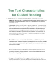 3 - Ten Text Characteristics for Guided Reading