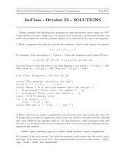 In-Class Assignment 4 SOLUTIONS