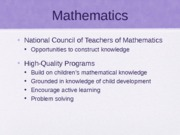 Mathematics Lecture Powerpoint ECI 314 Early Childhood Mathematics