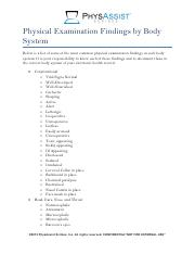 Physical Examination Findings by Body System