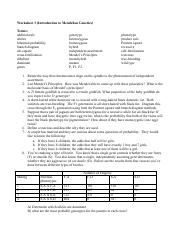 Worksheet 03 - Mendelian Genetics