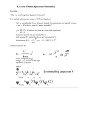 Lecture 4 Notes Quantum Mechanics
