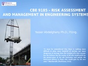 Lecture 1 - CBE 9185 - Risk Assessment and Management in Engineering Systems