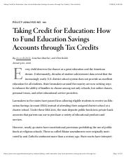 Taking Credit for Education: How to Fund Education Savings Accounts through Tax Credits | Cato Insti