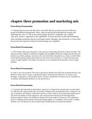 chapter three promotion and marketing mix1