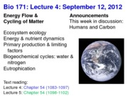 Biology 171 Lecture 4
