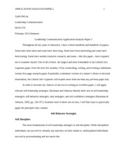 CH--Leadership Communication Application-Analysis Paper 2