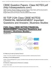 50 TOP [12th Class CBSE NOTES] FINANCIAL MANAGEMENT Important