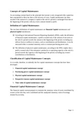 Concepts of Capital Maintenance