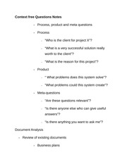 Context free Questions Notes