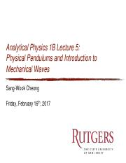 2 Physics 124 Physical Pendulums and Mechanical Waves P ERIOD T