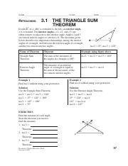 Chapter 3 1 The Triangle Sum Theorem Worksheet Pdf Name
