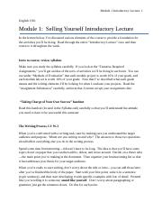 Module 1 Selling Yourself Introductory Lecture