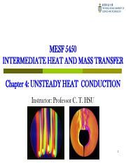 MESF5450 Chapter 4 Unsteady Heat Conduction