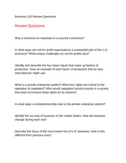 Business 110 Review Questions Chapter 1