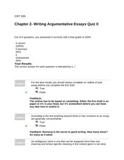 CRT205Chapter 2- Writing Argumentative Essays Quiz II