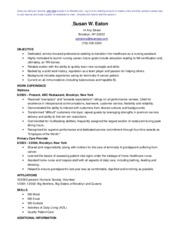 Nursing Assistant Sample Resume template
