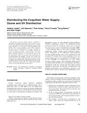 Disinfecting the Coquitlam Water Supplay Ozone and UV Disinfeection.pdf