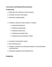 Convention and Meeting Planning Notes