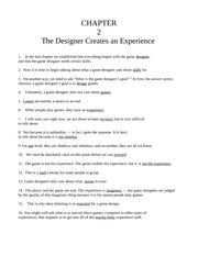 Chapter Two - The Designer Creates an Experience