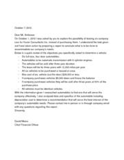 cover letter business report