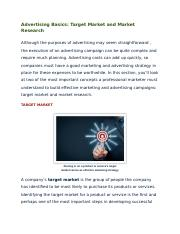 1.02 Advertising Basics - Target Market and Market Research.docx