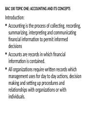 BAC 100 TOPIC ONE ACCOUNTING AND ITS CONCEPTS.ppt
