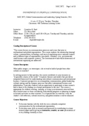 Syllabus for StOC 2672, Spring  Semester 2011
